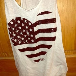PINK Black & White USA Heart Flag Tank Top